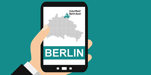 Hand mit Smartphone: Berlin - Flat Design